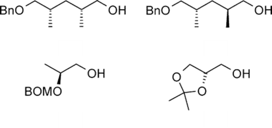 The selected examples of alcohols for asymmetric organic catalysis